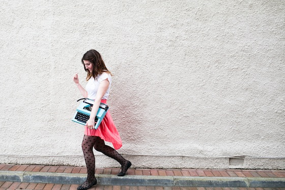 Typewriter going for a walk from a shoot with Lauren McGlynn | Conversation Pieces