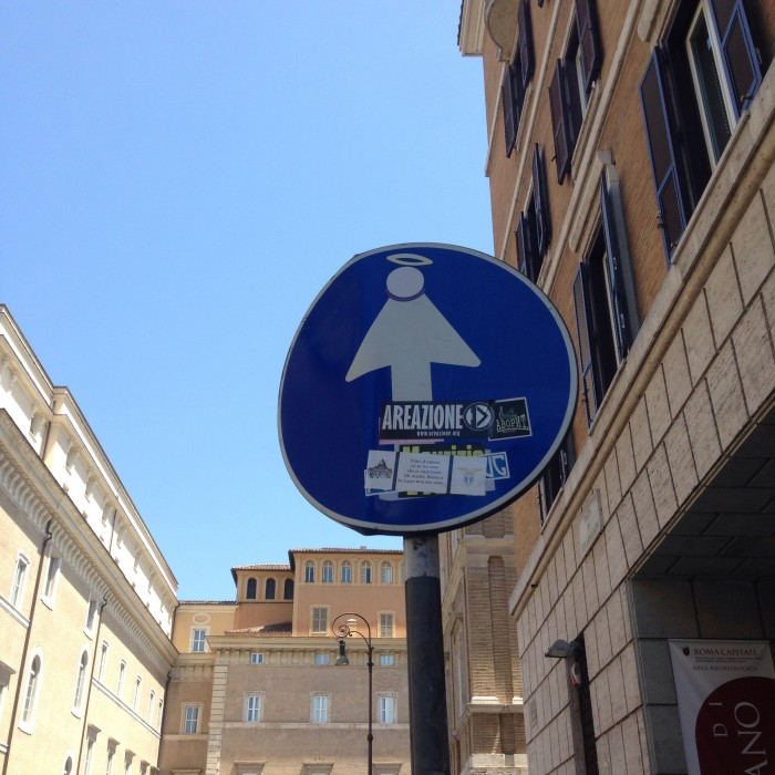 Angel street art in Rome Italy