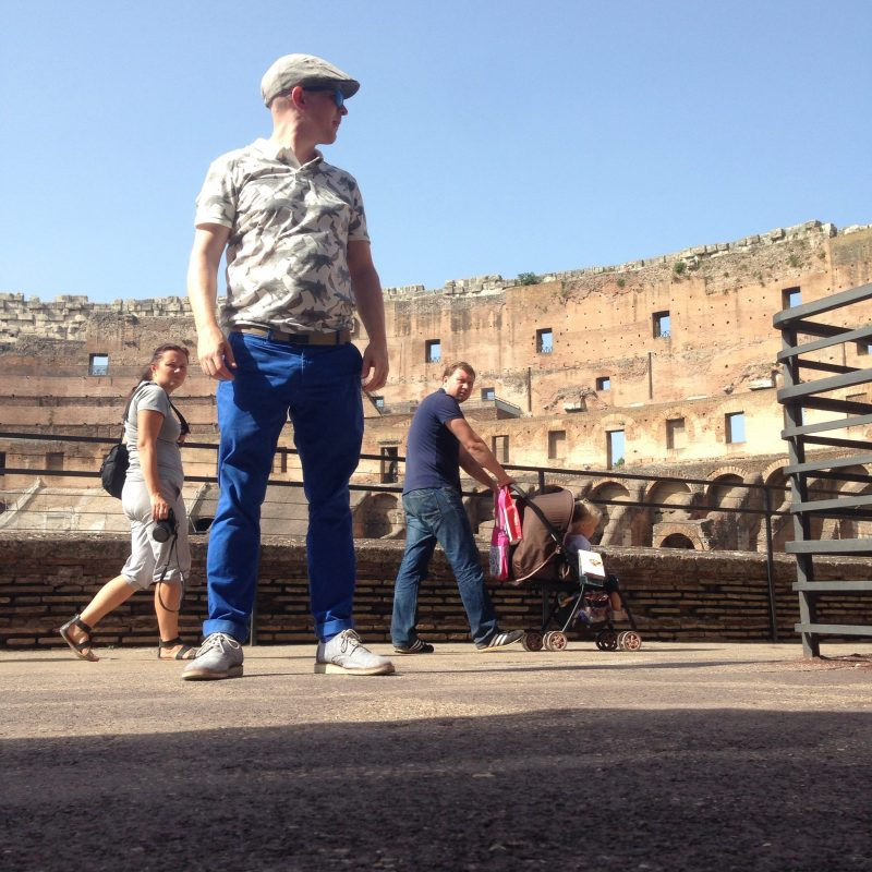 Getting ready to do a jumpstagram at the Colosseum in Rome Italy