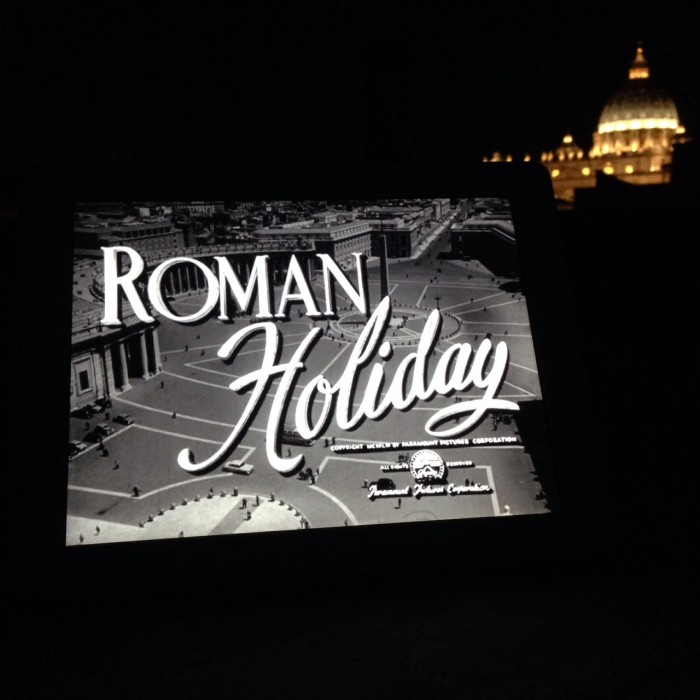 Watching the film Roman Holiday on a rooftop in Rome, Italy