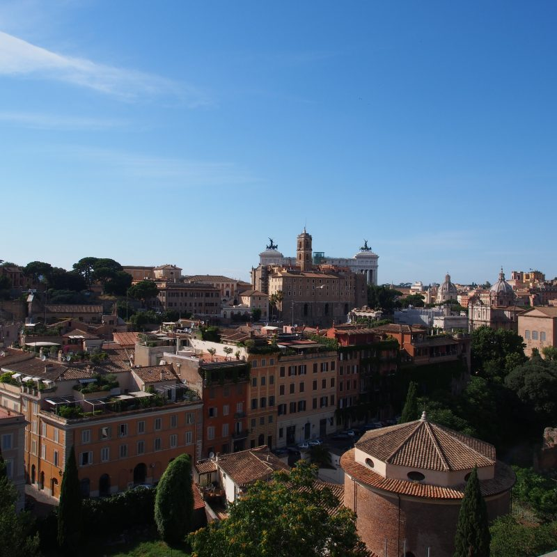 Rooftops and The Altar of the Fatherland in Rome, Italy