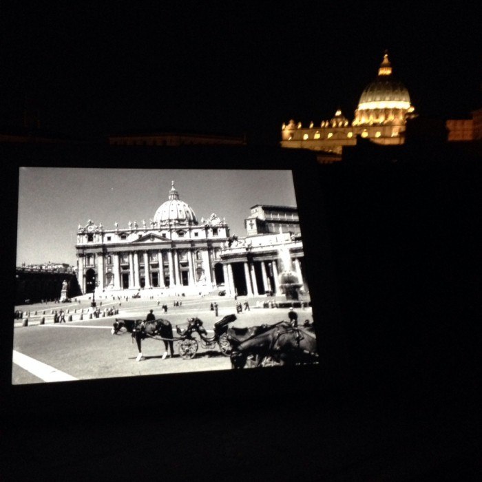 Watching Roman Holiday on a rooftop, with St Peter's in the background