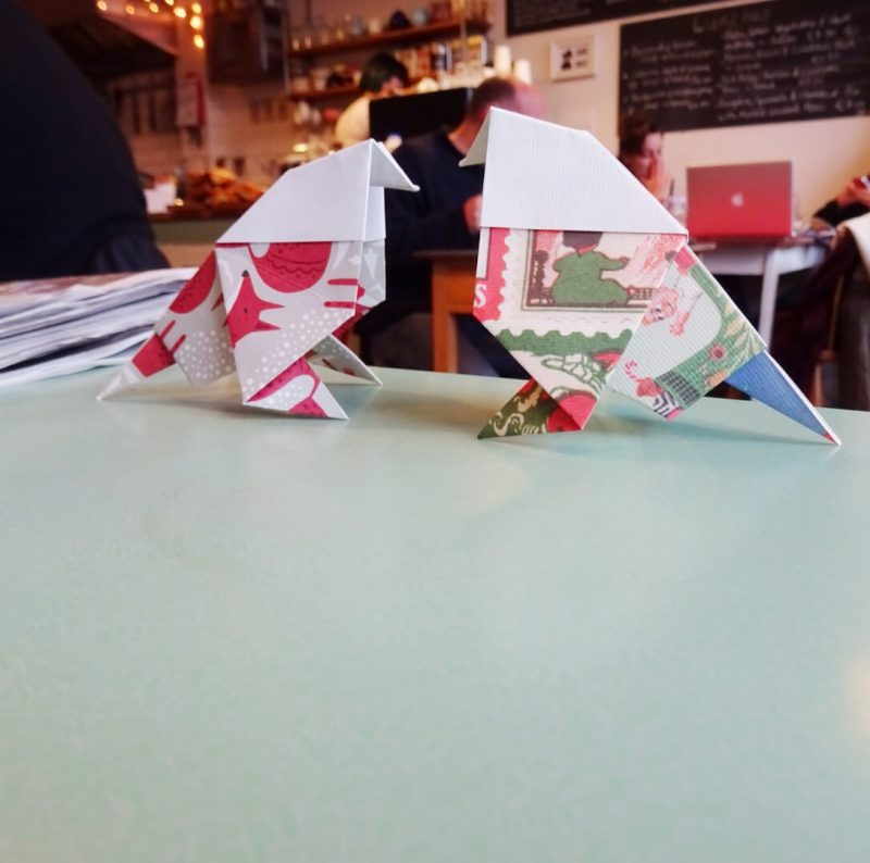 Positive pigeons, spreading a bit of origami cheer in London