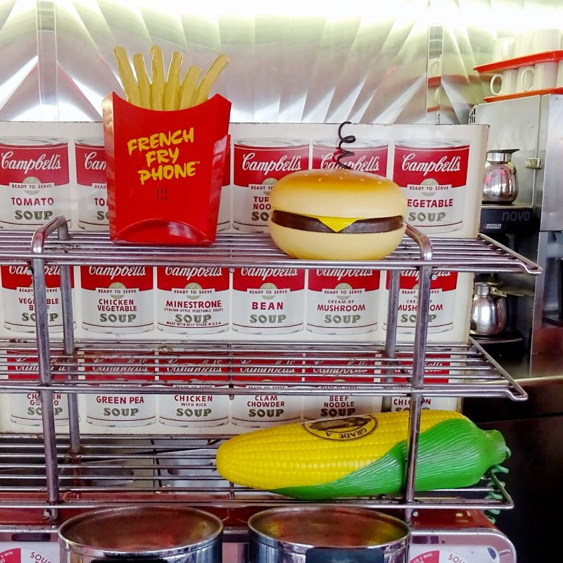 Fries, burger and sweetcorn phones at Mimis diner in Cornwall | Conversation Pieces