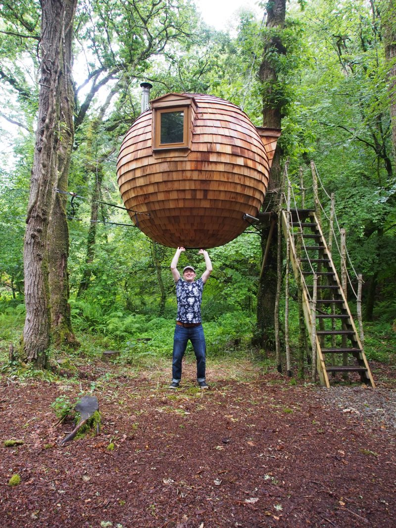 Pretending to hold up the treehouse in Cornwall | Conversation Pieces
