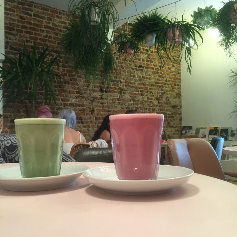 Vegan matcha lattes at Palm Vaults in London