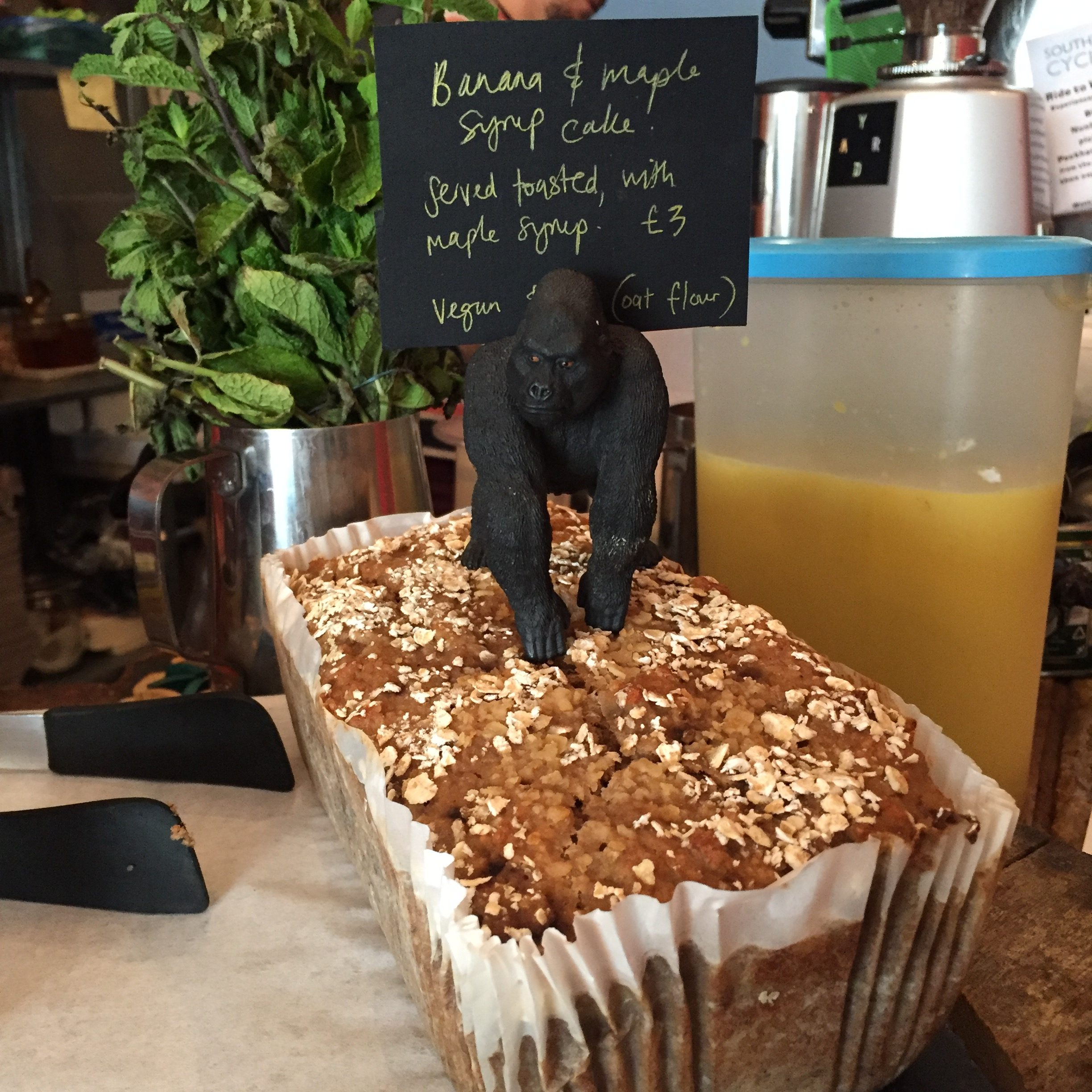 Vegan cake at the Small White Elephant in London