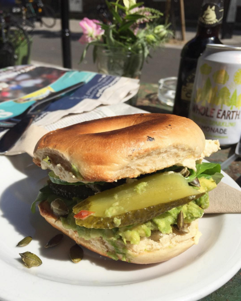 Vegan bagel at Brill Cafe London